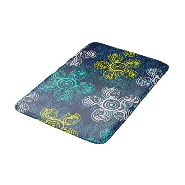Beach Themed Turquoise Lime Green Retro Chic Floral Pattern Bathroom Mat