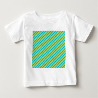 Turquoise Lime Green Stripes Pattern Baby T-Shirt