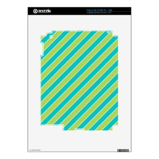 Turquoise Lime Green Stripes Pattern Decal For iPad 2