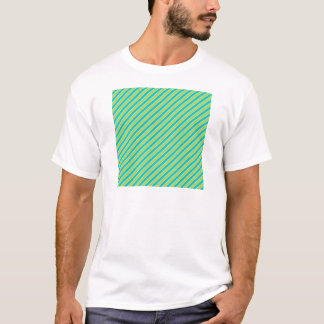Turquoise Lime Green Stripes Pattern T-Shirt