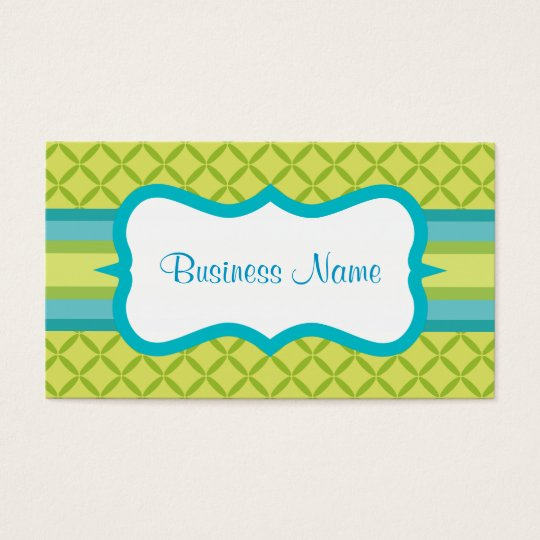 Turquoise Lime Pattern Business Card