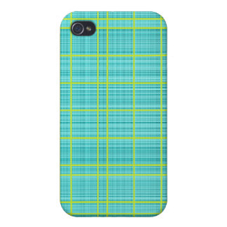 Turquoise/Lime Plaid Case iPhone 4/4S Case