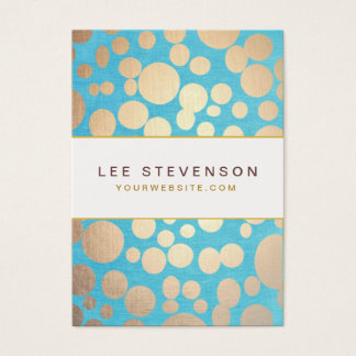 Turquoise Linen and Gold Circles Look Beauty Salon Business Card