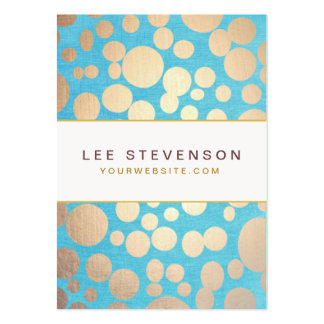 Turquoise Linen and Gold Circles Look Beauty Salon Large Business Card
