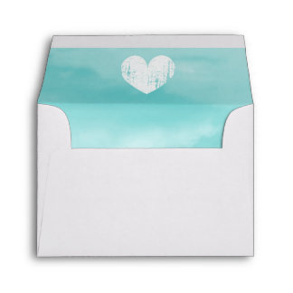 Turquoise liner wedding envelope with rustic heart