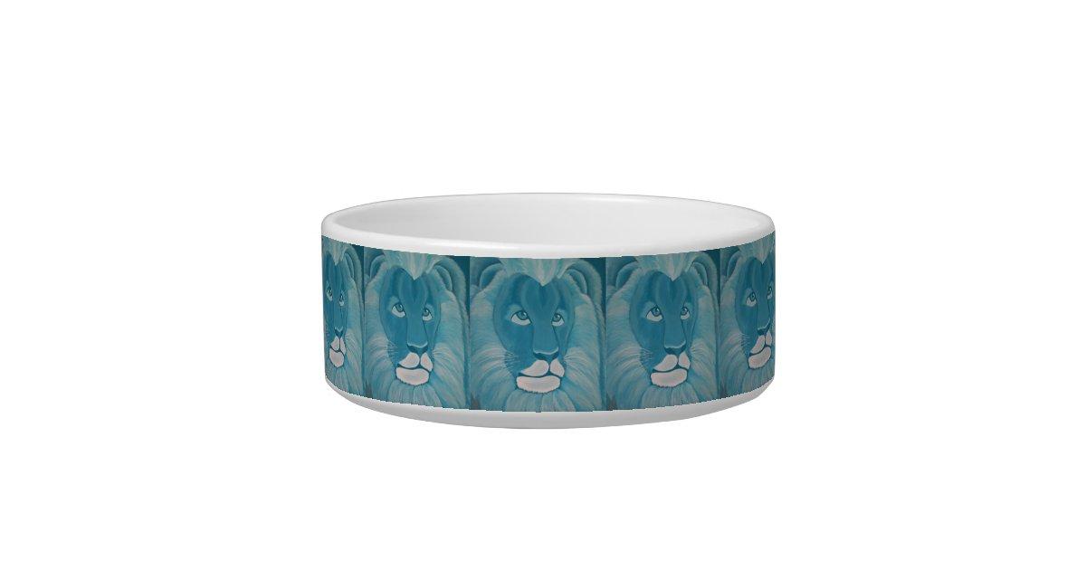 Turquoise Lion Cat Bowl