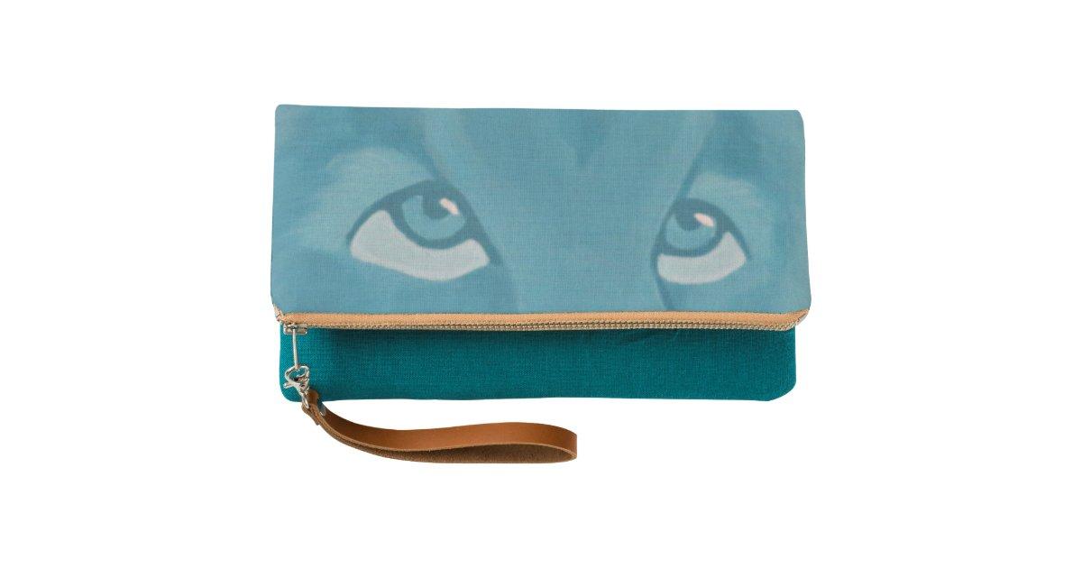 Turquoise Lion Clutch