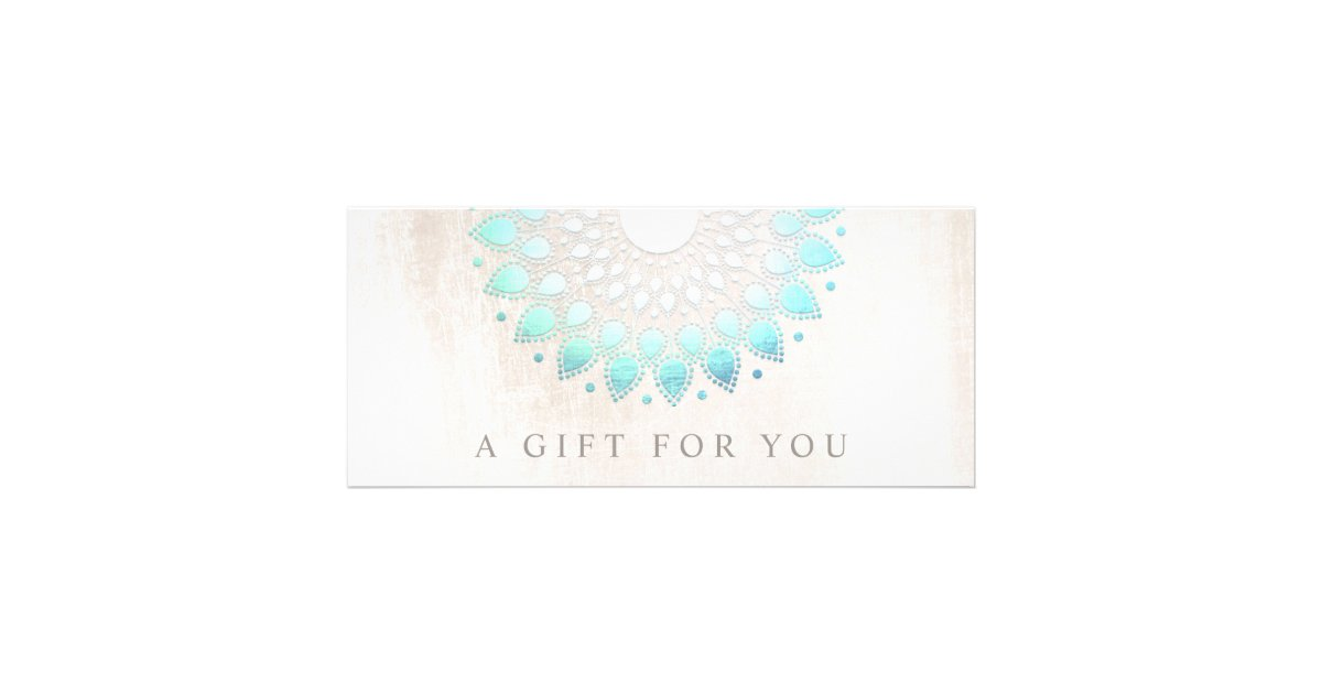 Turquoise lotus floral spa gift certificate zazzle for Salon turquoise