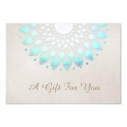 Turquoise Lotus Flower Gift Certificate Card