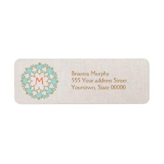 Turquoise Lotus Monogrammed Return Address Labels