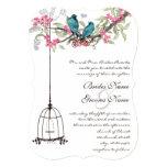 Turquoise Love Bird Pink Romantic Birdcage Announcements