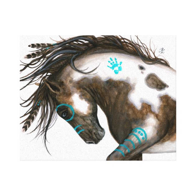 Turquoise Majestic Horse Bihrle Art Canvas Print Zazzle Com