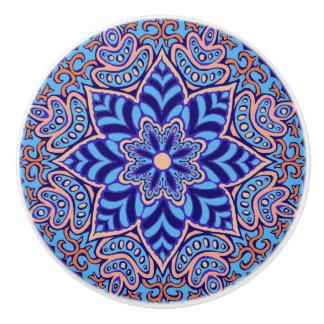 Turquoise Mandala Ceramic Knob