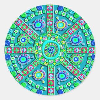 Turquoise Mandala Round Stickers