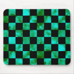 Turquoise marble Checkerboard Mouse Pad