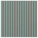 [ Thumbnail: Turquoise & Maroon Colored Stripes/Lines Pattern Fabric ]