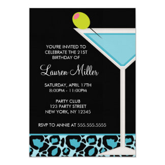 Turquoise Martini and Leopard Print 5x7 Paper Invitation Card
