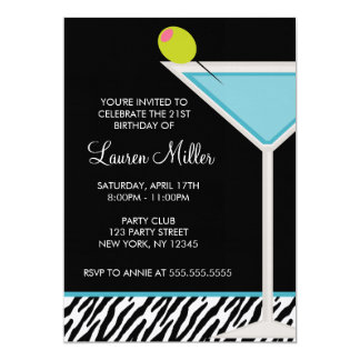 Turquoise Martini and Zebra Pattern Custom Invitation