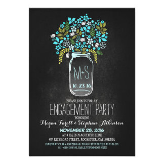 turquoise mason jar chalkboard engagement party card
