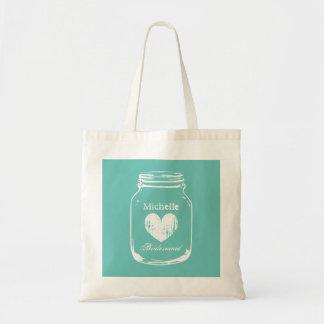 Turquoise mason jar wedding bridesmaid tote bag