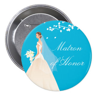 Turquoise Matron Honor Bridal Party  Button