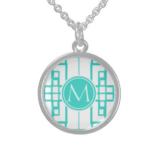 Turquoise Maze and Monogram Sterling Silver Necklaces