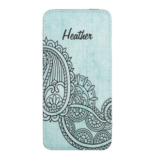 Turquoise Mehndi Motif iPhone 5 Pouch