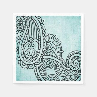 Turquoise Mehndi Motif Paper Napkins