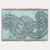 Turquoise Mehndi Motif Throw Blanket