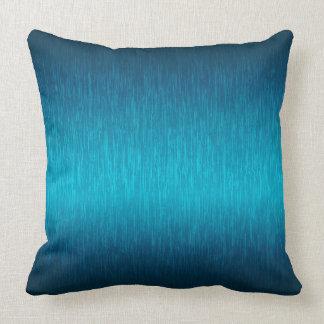 Turquoise Metallic Brushed Aluminum Look Throw Pillow