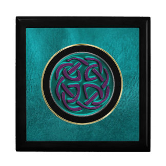 Turquoise Metallic Celtic Knot on Leather Gift Box