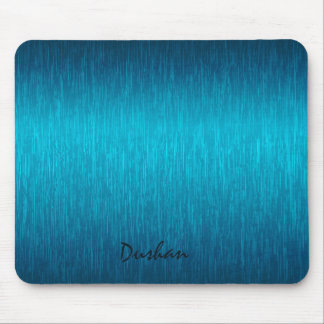 Turquoise Metallic Design Brushed Steel Look Mouse Pad