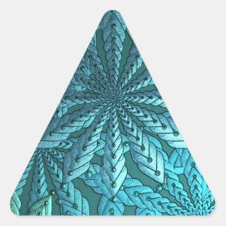 Turquoise Metallic Flowers Fractal Art Triangle Sticker