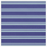 [ Thumbnail: Turquoise & Midnight Blue Lines Pattern Fabric ]