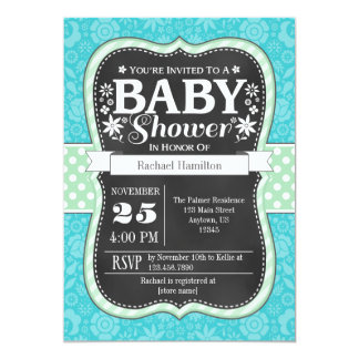Turquoise Mint Chalkboard Floral Baby Shower Card