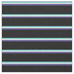 [ Thumbnail: Turquoise, Mint Cream, Dark Slate Blue & Black Fabric ]