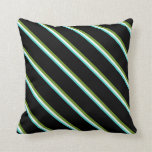 [ Thumbnail: Turquoise, Mint Cream, Green & Black Colored Throw Pillow ]