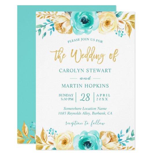 Turquoise Mint Gold Floral Romantic Chic Wedding Invitation Zazzle Com