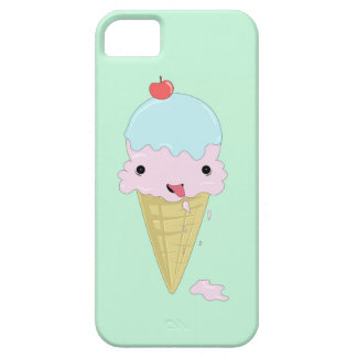 Turquoise mint green design with cartoon icecream iPhone 5 cases
