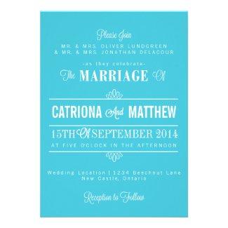 Turquoise Modern Borders Floral Wedding Invitation