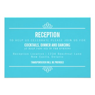 Turquoise Modern Floral Wedding Reception Card