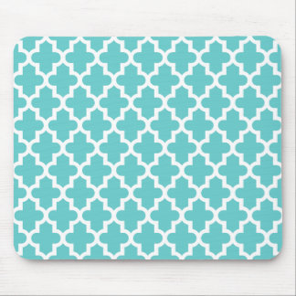 Turquoise Modern Moroccan Pattern Mouse Pad