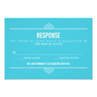 Turquoise Modern Typography and Flowers RSVP Card