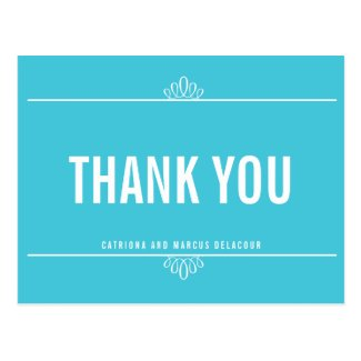 Turquoise Modern Typography Thank You Postcard