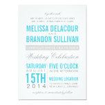 "Turquoise Modern Typography Wedding Invitation 5"" X 7"" Invitation Card"
