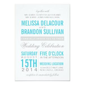 Turquoise Modern Typography Wedding Invitation 5