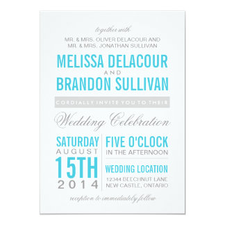 Turquoise Modern Typography Wedding Invitation