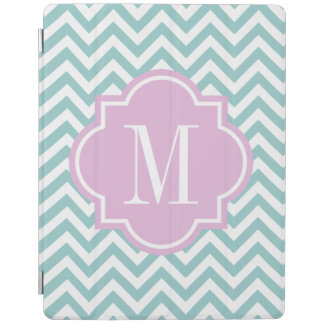 Turquoise monogram automatic on off iPad cover