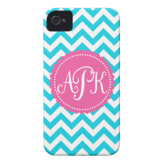 Turquoise Monogram Chevron Pattern iPhone 4 Case-Mate Case