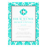 Turquoise Monogram Damask Bridal Shower Invitation Custom Invitations
